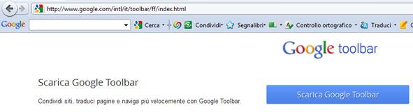 Anteprima Google Toolbar.