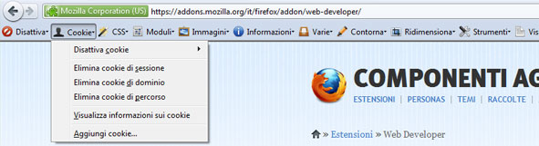 Anteprima Web Developer Toolbar.