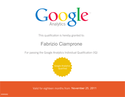 Certificato Google Analytics Individual Qualification.
